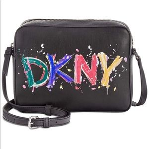 DKNY Tilly Paint Splatter Logo Camera Crossbody